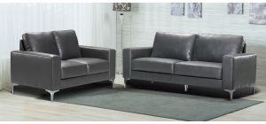 Oregon Grey Bonded Leather 3 + 2 Sofa Set With Chrome Legs