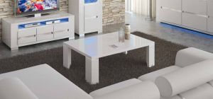 Elegance Diamond White Coffee Table With Glass Top