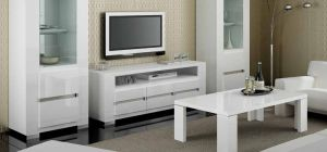 Elegance White Three Door TV Unit Assembled