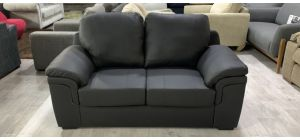 Black bonded leather Sofa 2 Seater With detachable rear cushions 46549