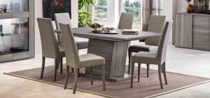 Futura Grey Sawmarked Oak 1.8m (Extending to 225cm) Dining Table With Six Cream Chairs