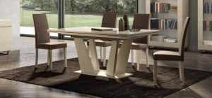 Perla White Larch 1.6m Dining Table With Six Brown Chairs