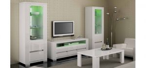 Elegance White Two Single Display Cabinets With Lights and TV Unit