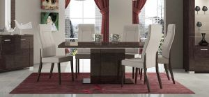 Prestige Warm Umber Birch 1.8m Dining Table With Six Cream Chairs