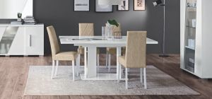 Lisa White 1.6m Dining Table With Six Cream Chairs