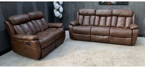 Vancouver Brown Leathaire 3 + 2 Sofa Set Manual Recliner