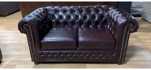 Chesterfield Leather Sofa 2 Seater Burgundy Studded Ex-Display Showroom Model