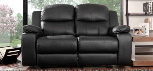 Montreal Midnight Black Reclining 2 Seater Leather Sofa