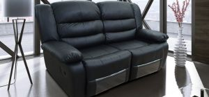 Romi Black Recliner Leather Sofa 2 Seater Bonded Leather, 21 Working Days Delivery