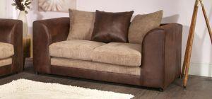 Dylan Leather Sofa 2 Seater Brown And Coffee Portobello Cord