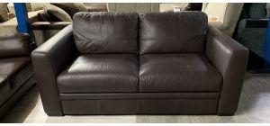 Sisi Italia Semi Aniline Leather Sofa 2 Seater Brown Ex-Display Showroom Model Small Scuffs (see images) 46546