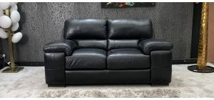 Steffano Semi Aniline Leather Sofa 2 Seater Black Ex-Display Showroom Model 46732