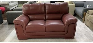 Majori Semi Aniline Leather Sofa 2 Seater Burgundy Ex-Display Showroom Model Small Scuff left front bottom