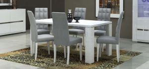Elegance White 1.9m Dining Table With Six Upholstered Chairs In Grey Vermont
