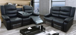 Romi Black Recliners Leather Sofa Set 3 + 2 Seater Bonded Leather, 21 Working Days Delivery