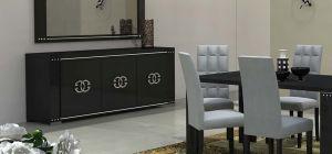 Armonia Diamond Black Lux With Prestige Logo Three Door Buffet Cabinet Sideboard Assembled
