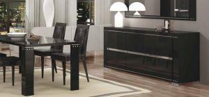 Armonia Diamond Black Three Door Buffet Cabinet Sideboard Assembled