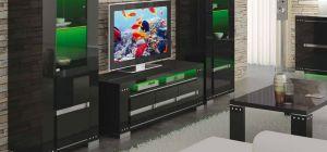 Armonia Diamond Black Three Door TV Unit Assembled