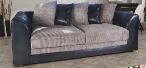 Dylan Fabric Sofa 3 Seater Black And Grey Portobello Cord