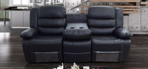 Romi Black Recliner Leather Sofa 3 Seater Bonded Leather, 21 Working Days Delivery