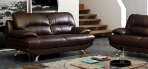 Samara Leather Sofa 3 Seater Brown