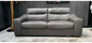 Venezia Semi Aniline Leather Sofa 3 Seater Grey Ex-Display Showroom Model 46606