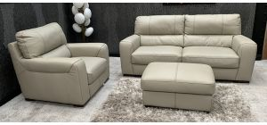 Lucca Semi Aniline Leather Sofa Set 3 + 1 Seater Cream With Footstool Contrast Stitching Ex-Display Showroom Model 46745
