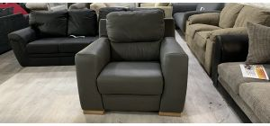 Lucca Electric Recliner Semi Aniline Leather Armchair 1 Seater Grey Ex-Display Showroom Model 46554
