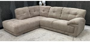 Beige LHF Fabric Corner Sofa Chrome Legs (Slight colour difference in 2 pieces, see images) Ex-Display Showroom Model 46801