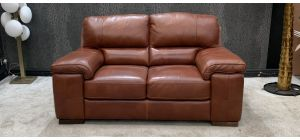Steffano Ox-Blood Regular Leather Sofa Contrast Stitching Sisi Italia Semi-Aniline Scuffs On Left Right Arm, Left Right Top (see images) Ex-Display Showroom Model 46815