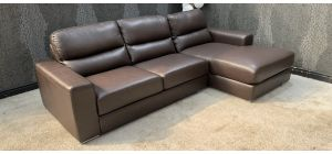 Naples Brown RHF Bonded Leather Corner Sofa Chrome Legs Small Scuffs Top Left (see images) Ex-Display Showroom Model 46821