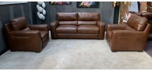 Lucca Brown Leather 3 + 1 Static With Electric Armchair And Footstool Sisi Italia Semi-Aniline Ex-Display Showroom Model 46822