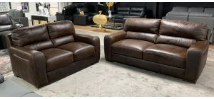 Lucca Chocolate 3 + 2 Sofa Set Sisi Italia Semi-Aniline Leather, 3 Seater Scuff On Front Right Bottom (see images) Ex-Display Showroom Model 46845