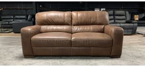 Lucca Brown Large Semi-Aniline Leather Sofa With Yellow Stitching Sisi Italia Ex-Display Showroom Model 46846
