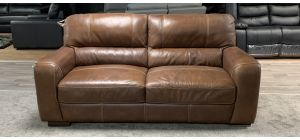 Lucca Brown Large Sisi Italia Semi-Aniline Leather Sofa With White Contrast Stitching, Top Right And Left Rear Scuffs (see images) Ex-Display Showroom Model 46847