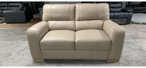 Lucca Light Taupe Semi-Aniline Leather Regular Sofa Sisi Italia, Scuffs Back Right Rear Bottom (see images) Ex-Display Showroom Model 46849