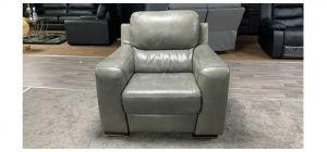 Lucca Grey Leather Armchair Electric Recliner Sisi Italia Semi-Aniline Ex-Display Showroom Model 46851