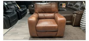 Lucca Brown Leather Armchair Sisi Italia Semi-Aniline, Colour Fade (see images) Ex-Display Showroom Model 46857