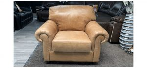 Beige Scroll Arm Italian Aniline Leather Armchair, Few Scuffs See Images, Colour Marks On Back (see images) Ex-Display Showroom Model 46858