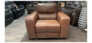 Lucca Brown Leather Armchair Electric Recliner Sisi Italia Semi-Aniline Colour Faded (see images) Ex-Display Showroom Model 46862