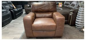 Lucca Brown Leather Armchair Sisi Italia Semi-Aniline Colour Faded (see images) Ex-Display Showroom Model 46863
