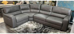 Lucca Grey LHF Leather Corner Sofa Sisi Italia Semi-Aniline Ex-Display Showroom Model 46864
