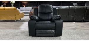 Montreal Black Leather Armchair Electric Recliner Top Left Few Scuffs (see images) Ex-Display Showroom Model 46950