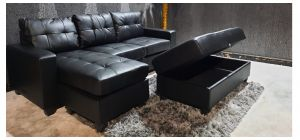 Black Lhf Chaise Corner Sofa With Large Storage Footstool Ex-Display Showroom Model 46993 (Footstool: W 120cm - D 60cm - H 50cm)
