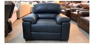 Majori Black Leather Armchair Sisi Italia Semi-Aniline Few Scuffs (see images) Ex-Display Showroom Model 47022
