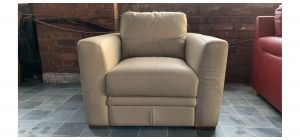 Cream Sisi Italia Semi-Aniline Leather Armchair - Few Marks (see images) Ex-Display Showroom Model 47046