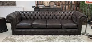 Bedford Chesterfield Handmade 4 Seater Plus Armchair Aniline Leather Anthracite Grey With Studded Arms And Wooden Legs - 4 Week Bespoke Build - Call For Colour Options
