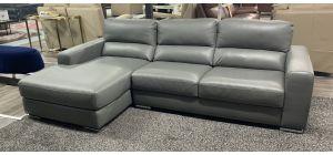 Palmeston Grey LHF Marinelli Leather Corner Sofa Chrome Legs Ex-Display Showroom Model 47108