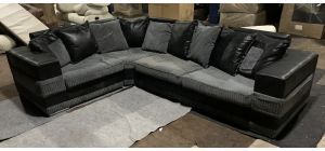 Kudos Grey And Black LHF Fabric Corner Sofa 1C2 With Chrome Legs - Marks On Right Hand Seat - Return Sofa (see images) Ex-Display Showroom Model 47135