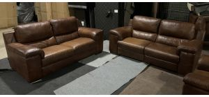 Majori Brown Leather 3 + 1 Electric Recliners With Static 3 seater - Sisi Italia Semi-Aniline - Colour Fade (see images) Ex-Display Showroom Model 47142